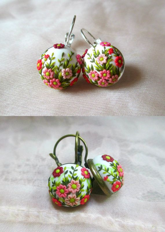 Polymer Clay Dancing Spring Flowers Earrings door StoriesMadeByHands