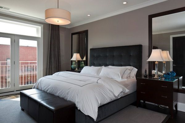 masculine modern master bedroom ideas with black bed furniture and