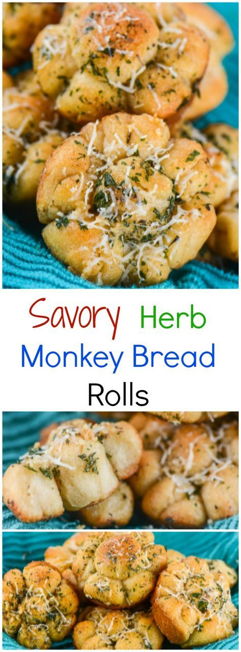 Savory Herb Monkey Bread Rolls are soft, buttery, pull-apart rolls with garlic, parmesan cheese, italian seasoning, and parsley on top of rolls made with bites of crescent roll dough. @pillsburyideas ~ http://FlavorMosaic.com