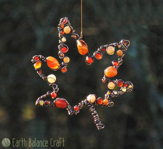 Suncatcher Japanese Maple Leaf Leaf by EarthBalanceCraft on Etsy