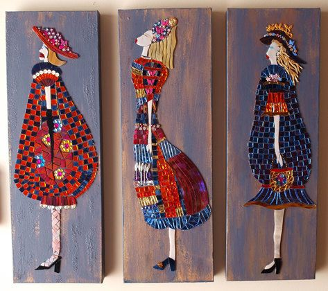 playful piece of three ladies created with mixed media, but mainly glass on painted canvas. These are made to order in your choice of colours and