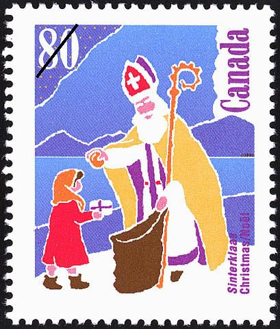 "Christmas 'Gift-bringers' series, 1991Canada Post   The 80 cent international rate design shows one of the Sinterklaas ""Santas"" common to many European countries.  Renowned for giving generously to the poor secretly at night, the day of his death, December 6, was declared an official Church holiday in the 12th century.  In some countries, that day is still an occasion for exchanging gifts today."