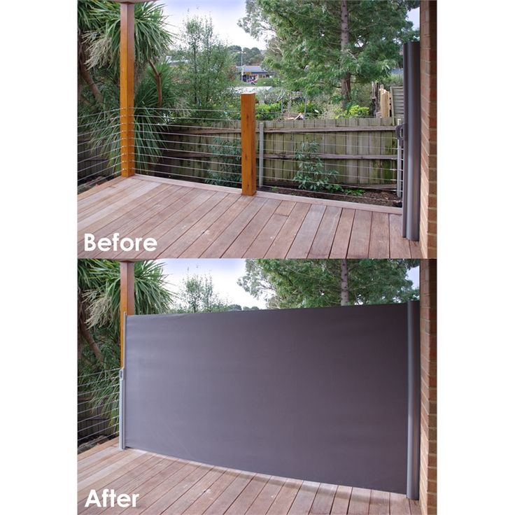 Pillar products 2 x 3m retractable patio screen charcoal for Retractable deck screens