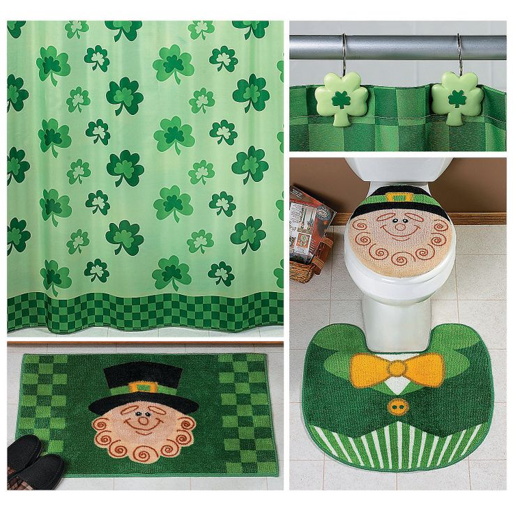 Patricks Day Decor Complete Bathroom Rugs And Shower Curtain Set NEW