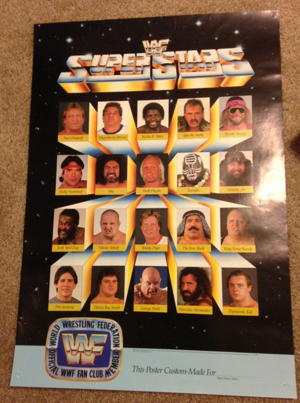Super rare WWF Fan Club poster including Hulk Hogan, Randy Savage, Jake Roberts, Ricky Steamboat, JYD, British Bulldogs, Tito Santana, Koko B. Ware, Nikolai Volkoff, Paul Orndorff, Don Muraco, George Steele, Iron Sheik, and King Kong Bundy