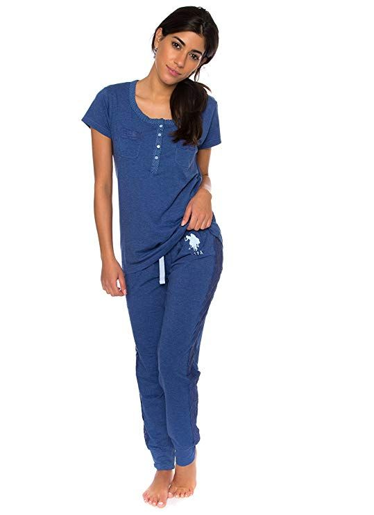 246b9b0754 U.S. Polo Assn. Womens Short Sleeve Shirt and Long Pajama Pants Sleepwear  Set - Blogging ERA