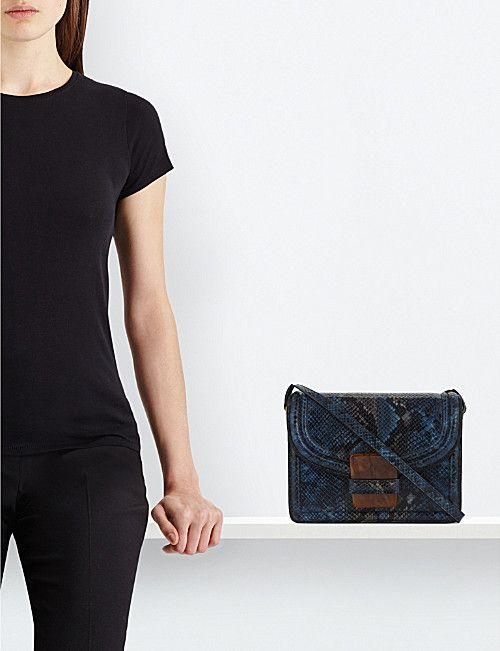 DRIES VAN NOTEN Snake-embossed leather cross-body bag