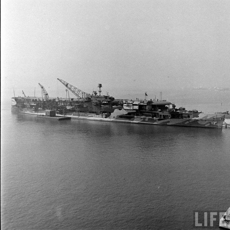"""This is the British Aircraft Carrier HMS Furious, after a Stateside refit in 1942. This ship was originally completed as a """"Light Battlecruiser"""" in 1917, and converted to a carrier progressively throughout the interwar period. She was decommissioned in 1944, and scrapped in Scotland in 1948."""
