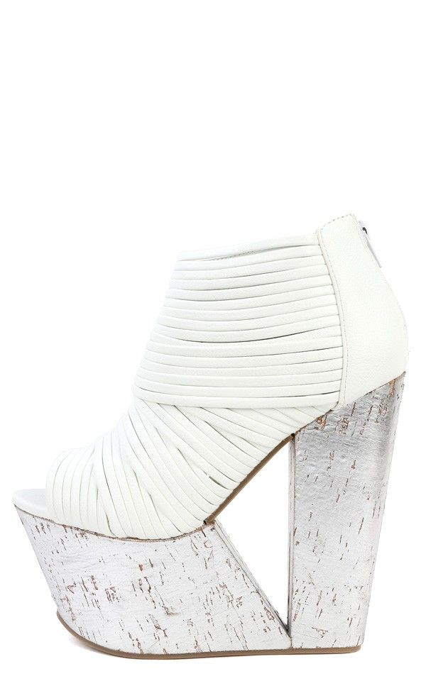 Privileged Man-Eater Strappy Ankle Boots WHITE
