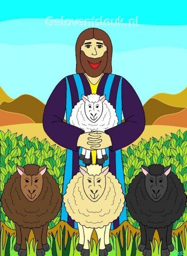 Jezus houdt van al zijn schaapjes, bruin, wit, creme of zwart. Jezus houdt van al zijn schaapjes, hij houdt ze veilig bij zijn hart. www.gelovenisleuk.nl