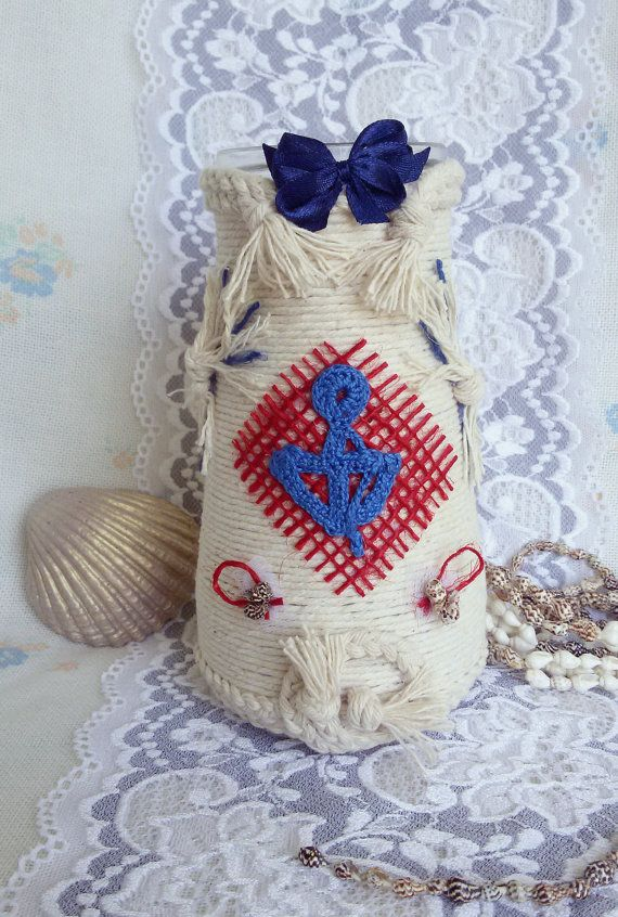 Nautical mason jar covered with rope nautical by Rocreanique