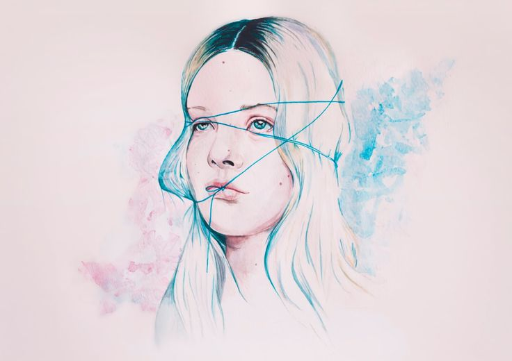 Watercolour painting - portrait of Arvida Byström, a Swedish artist and photographer  she is