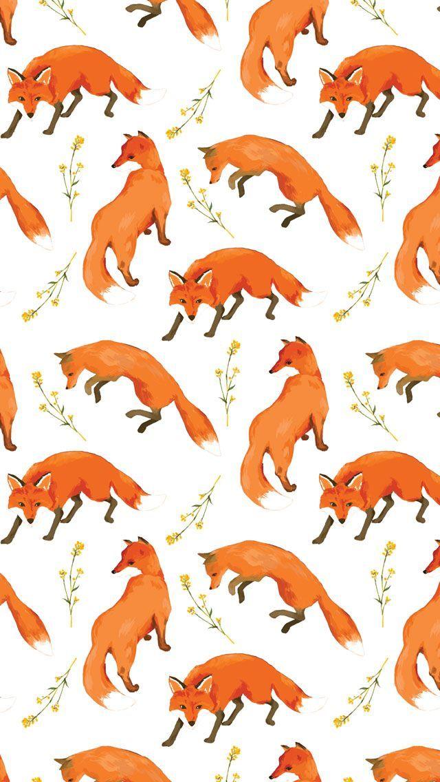 Fox Flower Textile Pattern Design Hyunart Awesome Pretty Wallpapers Awesome Design Pretty Wallpapers Phone Wallpaper Cute Wallpapers