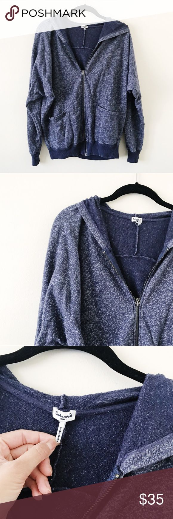 Splendid Heather Navy Zip Up Hoodie • brand: splendid  • condition: worn a few times, excellent  • size: small  • description: very cozy hoodie, zip up, heather navy color   • trying to downsize my closet. bundle to save 💰 no trades or holds. i ship within 24-48 hours. happy shopping! Splendid Tops Sweatshirts & Hoodies