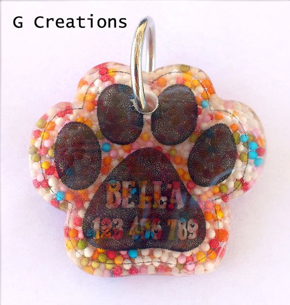 BLACK FRIDAY SALE 25% off #discount #coupon #code BLACKFRIDAY2014 Paw Dog Tag  Colorful Sprinkles  Dog ID  by GabriellesCreations