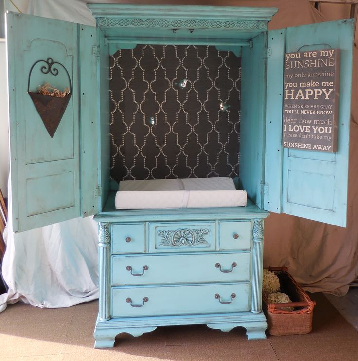 Teal Distressed Baby Changing Table Dresser Armoire From Old Tv Stand Entertainment Center
