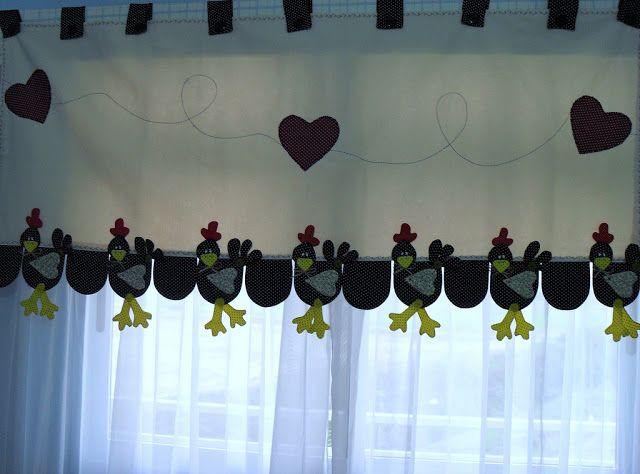 La tijera de cl o cenefa de gallinas - Apliques para cortinas ...