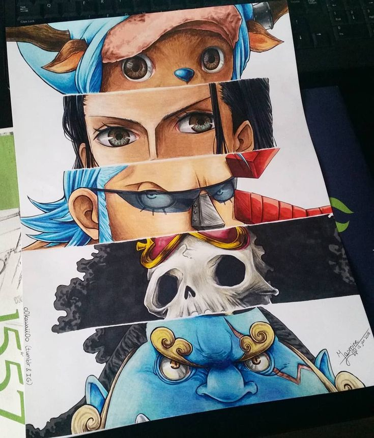 Chopper, Robin, Franky, Brook, and Jinbe - by Jasmine (@o0kawaii0o) on Instagram