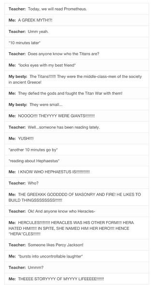 Where I live, Greek Mythology has no individual subject in school. It's just sad.