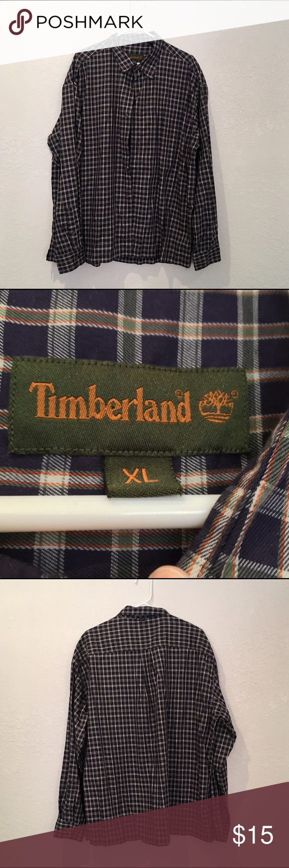 TImberland Plaid Long Sleeve Shirt EUC - TImberland Plaid Long Sleeve Shirt - blue and cream- XL. NO rips or stains. Timberland Shirts Casual Button Down Shirts