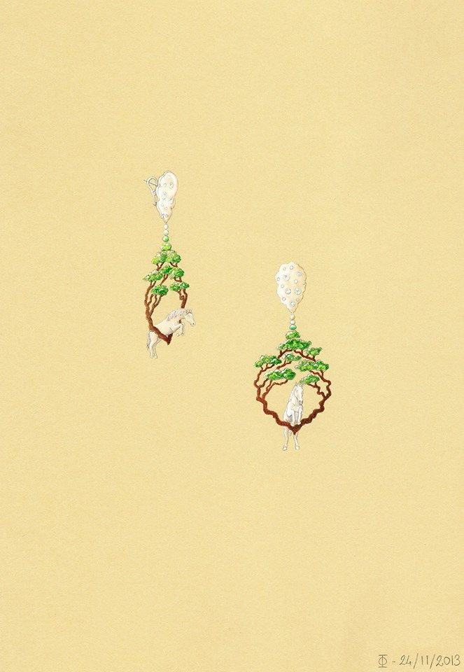 "Ornella Ianuzzi's design for TTF called ""Jumping into the New Year"" (of the Wood Horse !!) A pair of earrings made of jade, jadeite, gold, diamonds and zitan wood. — in Paris, France."