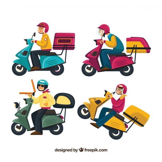 download fun collection of delivery men on scooter for free in 2020 vector free illustrators illustration design download fun collection of delivery men