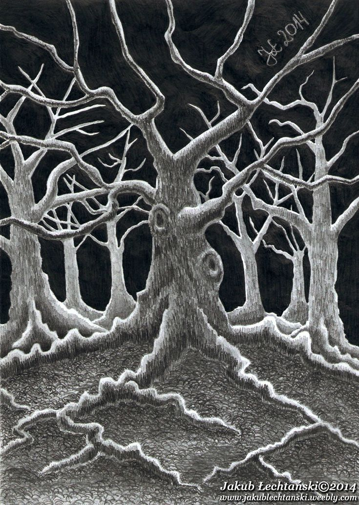 """Rysunek """"Drzewo"""". Drawing from 2014. In the picture you can see a tree in a dark cold autumn night."""