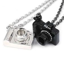 Fashion vintage Antique Necklace Coat Chain Camera Pendant black & Silver  starting price 0.99$