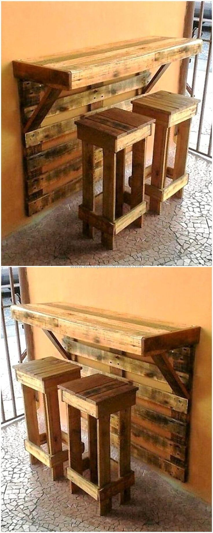 This is artistically constructed pallets wood breakfast table, crafted to provid…