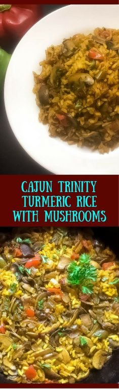 Up your side dish game with this Cajun Trinity Turmeric Rice With Mushrooms from A Sprinkling of Cayenne. Packed with veggies and loaded with flavor, this seasoned rice dish rocks with just the right amount of turmeric flavor. | http://asprinklingofcayenne.com.
