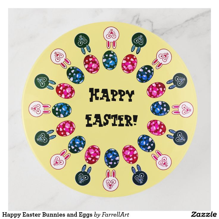 Happy Easter Bunnies and Eggs Trinket Trays