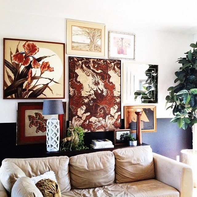 21 Fabulous Rustic Glam Living Room Decor Ideas: Collage Art, Living Room, Mid Century Bohemian Glamour