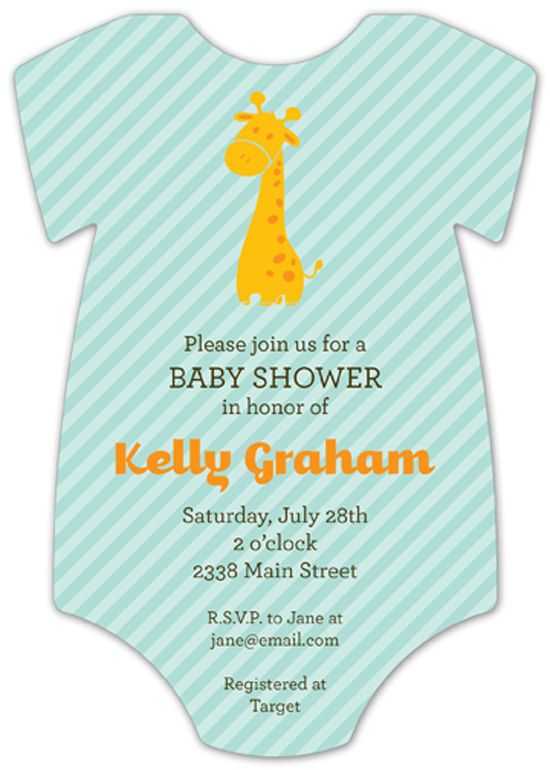 Giraffe Cutie Onesie baby shower invitations for boys at Polka Dot Design Invitations