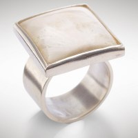 Rare, mysterious and beautiful, this rare smooth-polished Stalactite square stone is set in a silver-tone ring to create this season's must-have casual accessory.