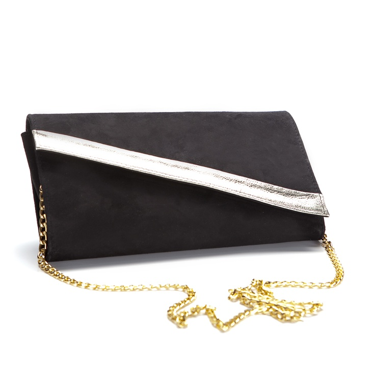 Cartera de mano negra y plateada. Only by SHOES FOR HER