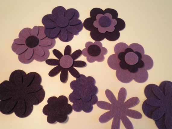 Die cut felt flower assortment large bold style by Pitterpattery