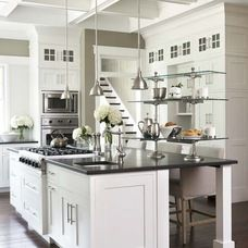 Contemporary Island Style Taupe Kitchen White Cabinets Linda McDougald Design Postcard From Paris Charleston