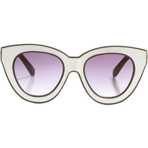 Quay Eyeware Australia The Bat Sunglasses in Silver ($24) found on Polyvore featuring accessories, eyewear, sunglasses, glasses, white, white sunglasses, cateye sunglasses, white glasses, cateye glasses and gradient sunglasses