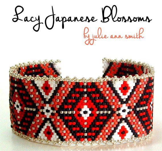 Julie Ann Smith Designs LACY JAPANESE BLOSSOMS Odd Count Peyote Bracelet Pattern