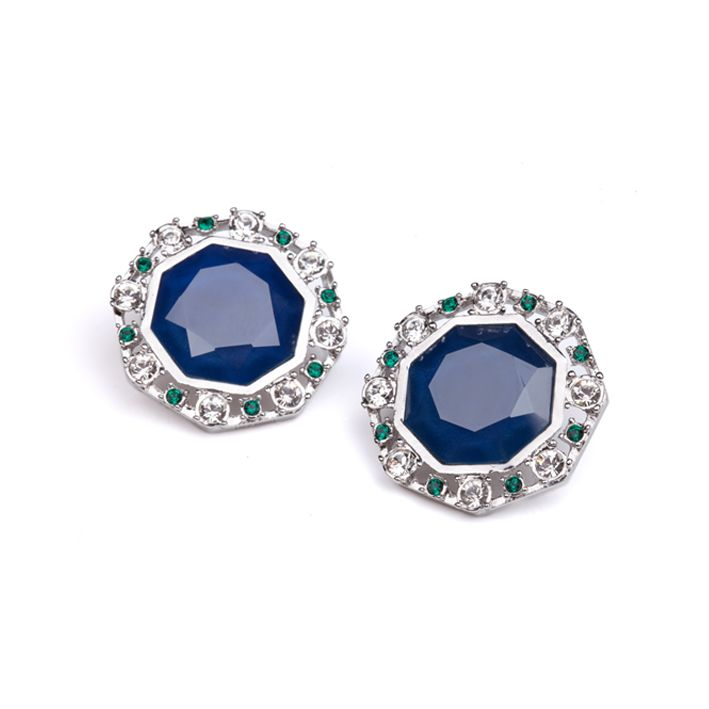 Lolu Rhoda Capri Blue Large Octarine Stud Earrings