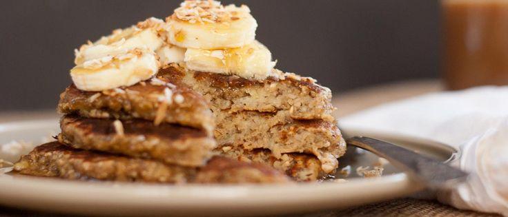 Receta: Mini-panqueques de Avena y Banano   #salud #pancakes #panquequew