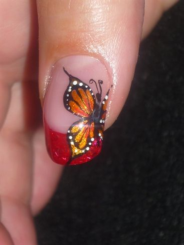 orange butterfly wing nail designs