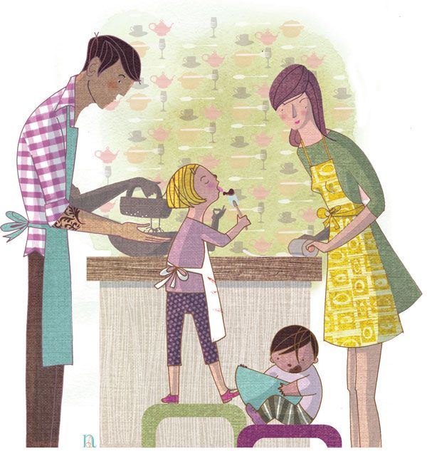 Nathalie Dion realized this illustration on the importance to perpetuate cuisine culture within the family for February's Coup de Pouce magazine.