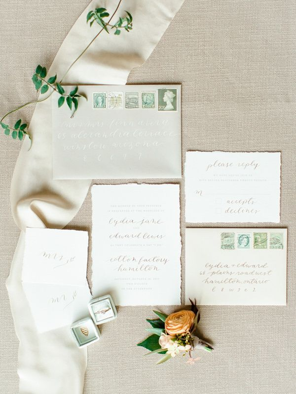 soft green wedding invitation suite - photo by Katie Nicolle Photography http://ruffledblog.com/romantic-intimate-styled-shoot
