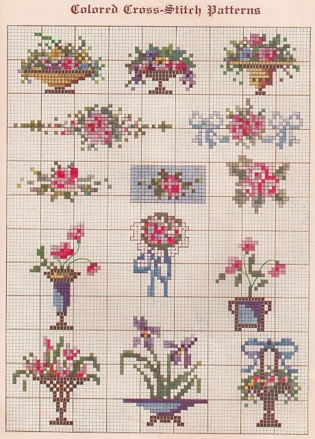 flowers, flowers bouquet, cross stitch