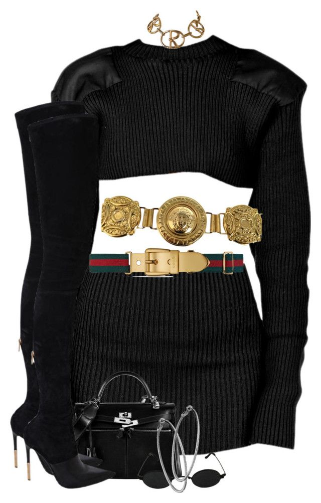 """Untitled #447"" by nyashaa ❤ liked on Polyvore featuring Hermès, Balmain, Gucci, Versace, Mystic Light and Roberta Di Camerino"