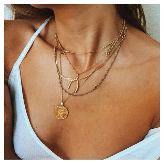 Free Spirit: Boho layered necklace, wishbone, gold coin charm, white tank | TheyAllHateUs