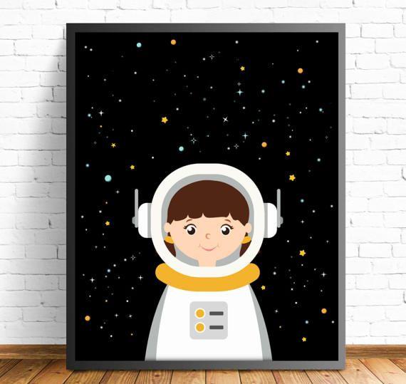 lamina astronauta infantilcuadro por Ilustracionymas en Etsy