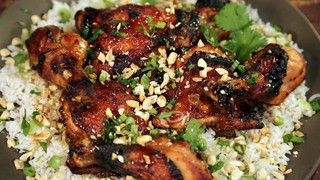 Peach and Sriracha Chicken Over Coconut Rice Recipe by Jessica Seinfeld | The Chew - ABC.com
