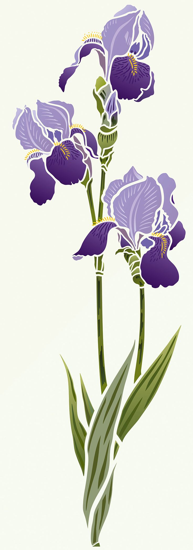 BeautifulIris flower stencil. 2 sheet designer stencil Iris Stencil 1 is a beautiful and elegant Iris Stencil based on Henny's detailed Bearded Iris drawings. This beautiful flower stencil is ideal for modern floral and botanical home decorating. Great for panels, furniture, soft furnishings and